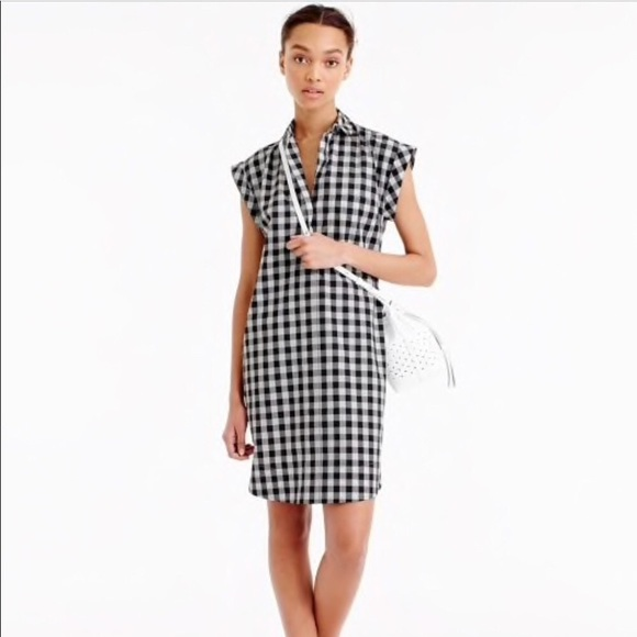 J. Crew Dresses & Skirts - J Crew Gingham Short-sleeve Shirt-Dress M